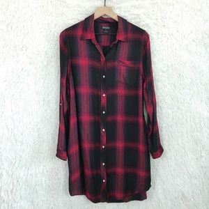 Plaid Shirtdress Red Black Lucky Brand